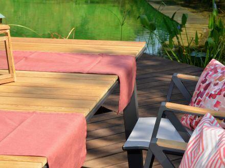 Vorschau: Alu Gartentisch Topas-Teak Detailbild 2