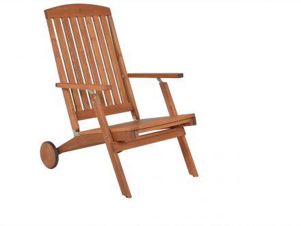 Vorschau: Holz Deckchair mit ein- und ausziehbarer Fußstütze