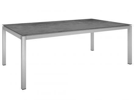 Stern Gartentisch 200x100cm Edelstahl Vierkantrohr / Zement