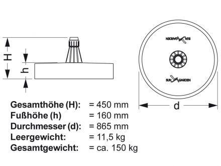 Vorschau: Easy Sun Schirmfuß technische Details