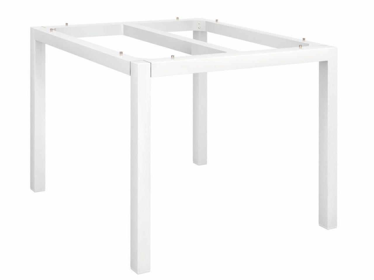 Stern Tischgestell Aluminium Vierkantrohr 90x90cm weiß