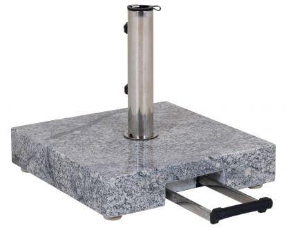 Schirmständer 45kg Granit grau 45x45cm Teleskopgriff & Rollen