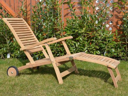 deckchair teak berlin mit rollen gartenm bel l nse. Black Bedroom Furniture Sets. Home Design Ideas