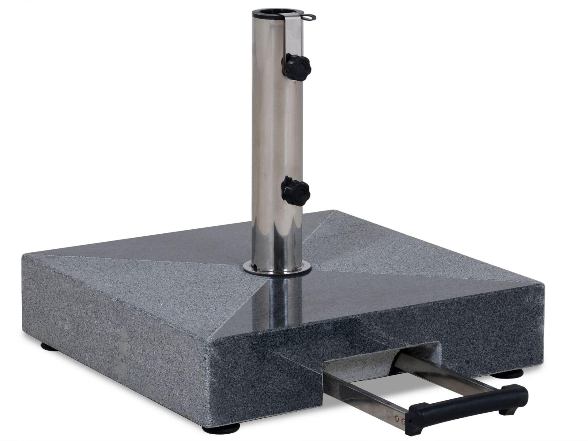 Granit Schirmständer 50kg, Teleskopgriff & Rollen