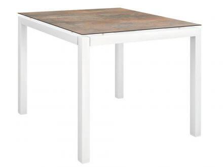 Stern Gartentisch 90x90cm Aluminium weiß/Silverstar 2.0 Ferro