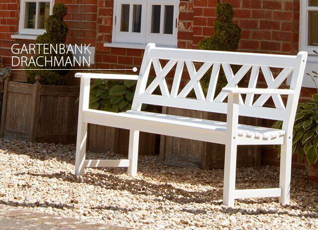 Drachmann - weiß lackierte Gartenbank mit Stil -. jetzt entdecken