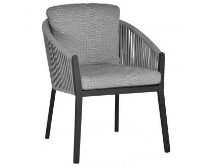 Suns Avero Dining Chair Alu matt royal grey Rope Carbon grey