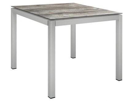 Stern Gartentisch 90x90cm Edelstahl Vierkantrohr / Tundra grau