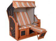 Strandkorb Carabic XL PE-Coffee orange-beige gestreift