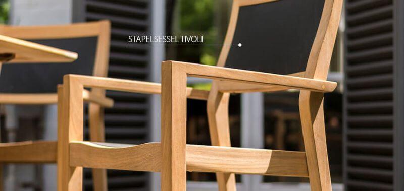 Stapelsessel Tivoli mit eleganter Outdoorgewebe-Bespannung - jetzt entdecken