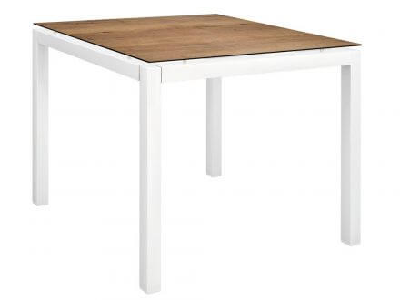 Stern Gartentisch 80x80cm Aluminium weiß/Silverstar Touch Tundra Toffee