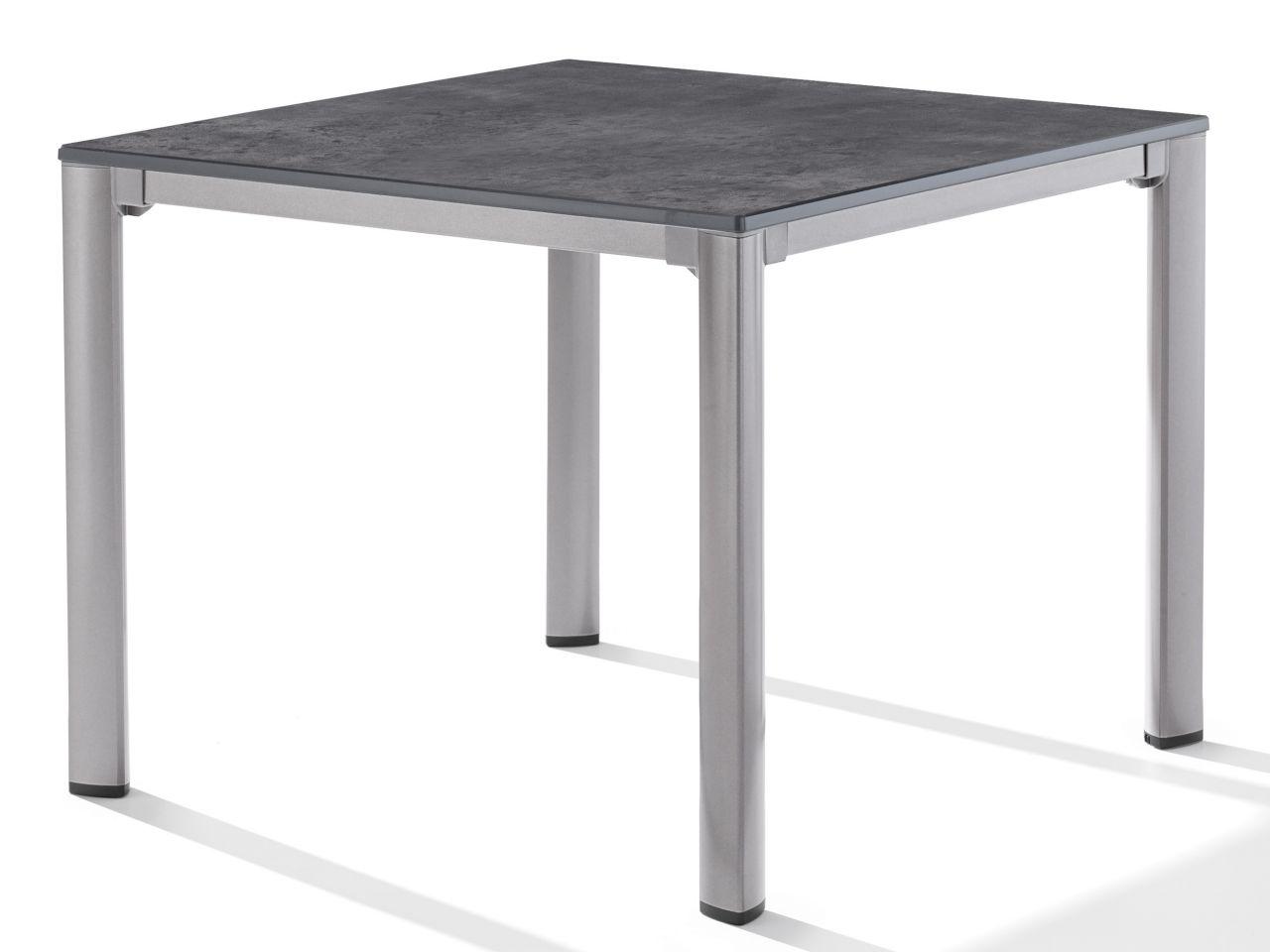 Sieger Gartentisch Loft 95x95cm graphit/Beton dunkel