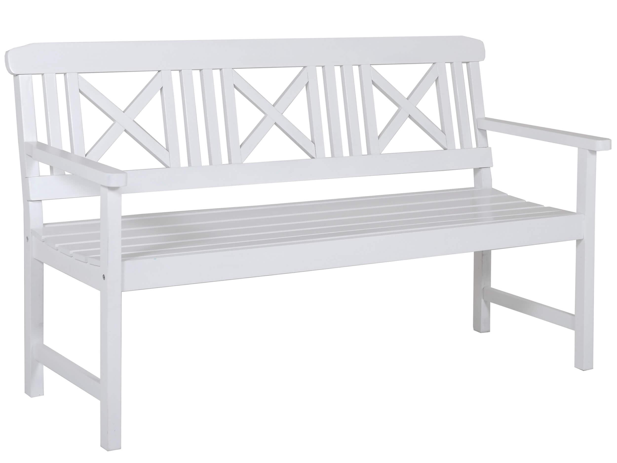 Holz Gartenbank Husum Weiß Lackiert 120cm 2 Sitzer | Gartenmöbel Lünse