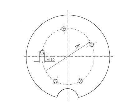 Vorschau: Technische Zeichnung Adapter 5-Loch Befestigung