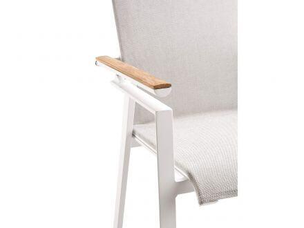Vorschau: solpuri Soul Verstellsessel hoch white mit Teak-Armlehne