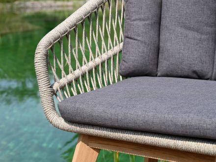 Vorschau: Lünse Rope Teak Gartensessel Orchid shaded-beige Detailbild