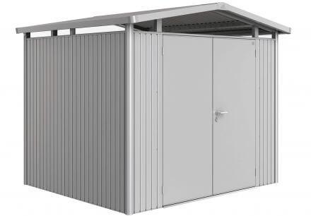 Gerätehaus Panorama® P3 silber-metallic mit Doppeltüre