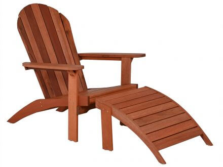 Lünse Holz Adirondack Chair Gartensessel mit Fußhocker