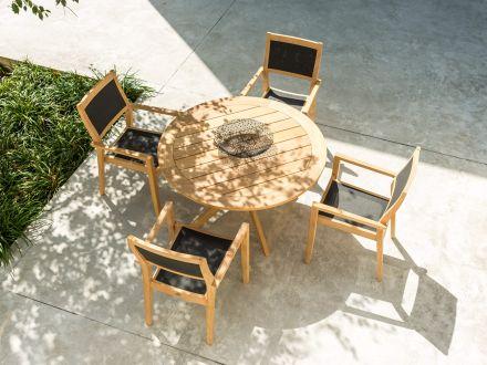 Vorschau: Alexander Rose Roble Holz Gartenstuhl Tivoli stapelbar Sling Charcoal