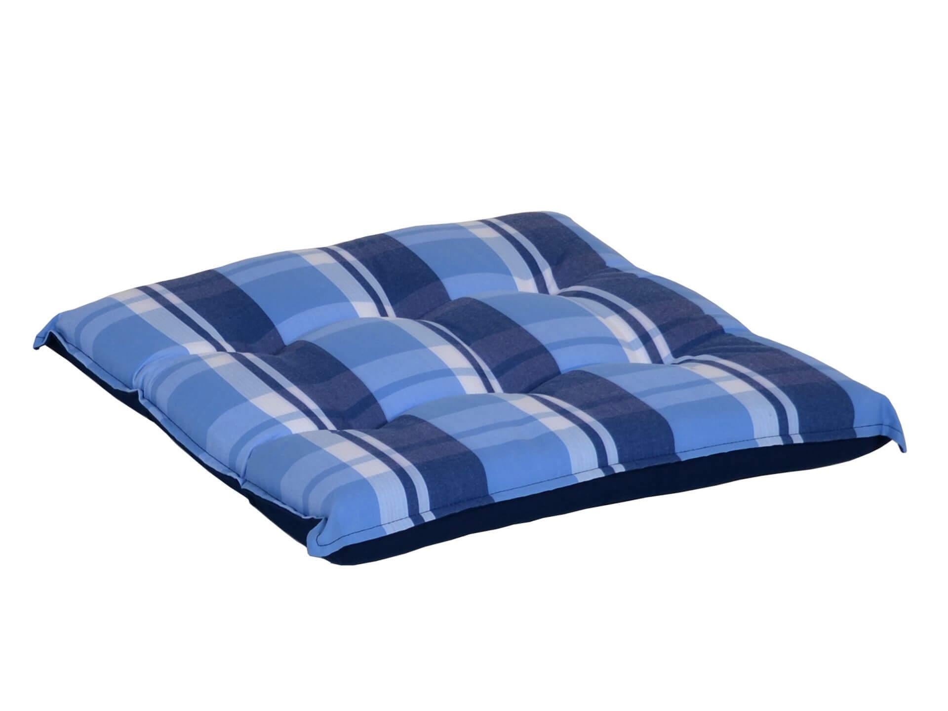 Sitzkissen blau-beige-kariert 50x50cm