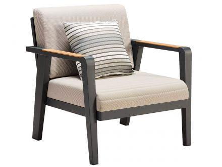Vorschau: Lünse 4-teiliges Alu-Teak Loungeset Regency Small Sofa