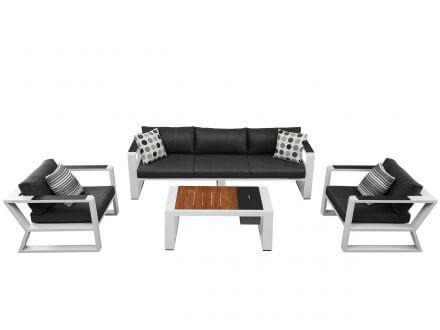 Lünse 4-teilige Alu Loungegruppe Lovina white