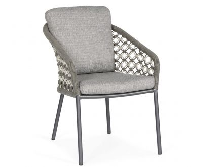 Suns Nappa Dining Chair Rope matt royal grey Macramé weaving