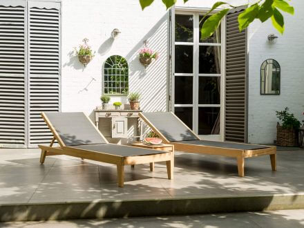 Vorschau: Alexander Rose Roble Holz Gartenliege Adjustable Sling Charcoal