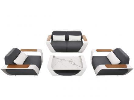 HIGOLD ONDA Loungeset Alu Teak Ferrari-Leder Design by pininfarina