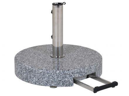 Schirmständer 45kg Granit grau Ø50cm Teleskopgriff & Rollen