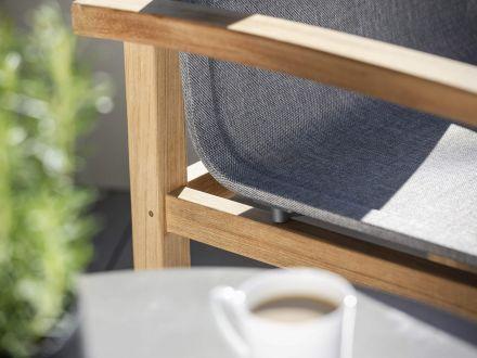 Vorschau: Stern Leah Sessel Teak mit Textilenbezug Leinen grau