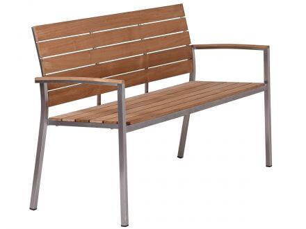 Vorschau: Lünse Edelstahl Teakholz Gartenbank Valis 150cm 3-Sitzer