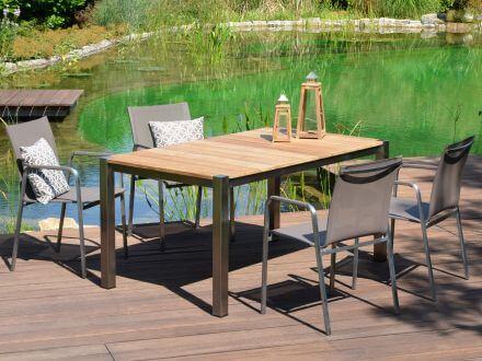 Vorschau: Lünse Edelstahl Teak Gartentisch Plaza Ambientebild Sitzgruppe mit Plaza Stühlen