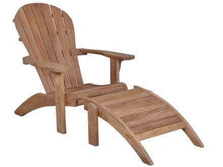 Lünse Teak Adirondack Chair Gartensessel mit Fußhocker