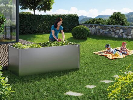Vorschau: Biohort HochBeet Ambientebild Beispiel Gemüsebepflanzung