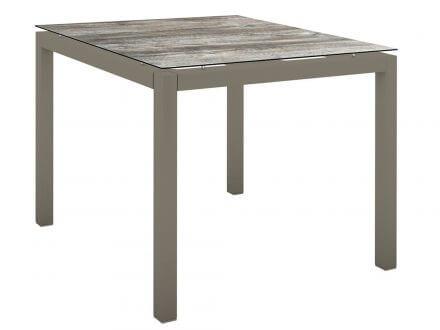 Stern Gartentisch 90x90cm Aluminium taupe/Silverstar 2.0 Tundra grau