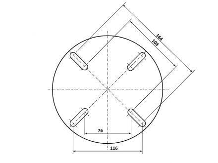 Vorschau: Technische Zeichnung Adapter 4-Loch Befestigung