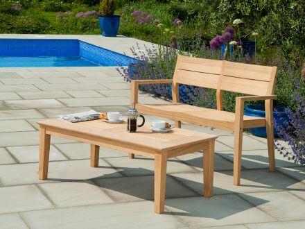 Vorschau: Alexander Rose Roble Holz Loungetisch Beistelltisch Tivoli 120x68cm