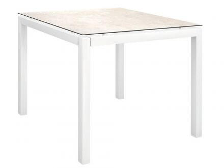 Stern Gartentisch 90x90cm Aluminium weiß/Silverstar 2.0 Travertin