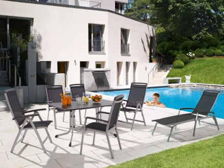 sieger boulevard klapptisch 140x90cm graphit anthrazit gartenm bel l nse. Black Bedroom Furniture Sets. Home Design Ideas