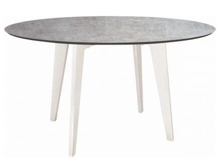 Stern Gartentisch Ø134cm HPL Aluminium weiß