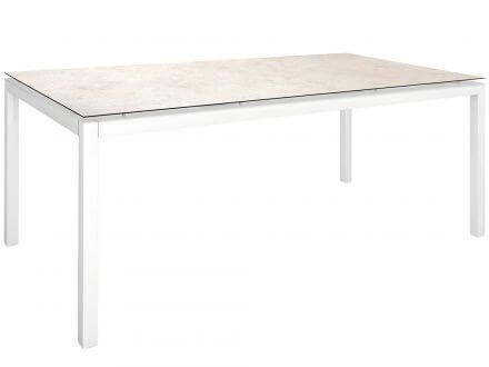 Stern Gartentisch 200x100cm Aluminium weiß/Silverstar 2.0 Travertin