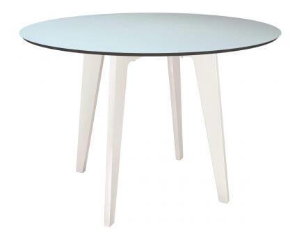 Gartentisch Ø110cm HPL Aluminium weiß