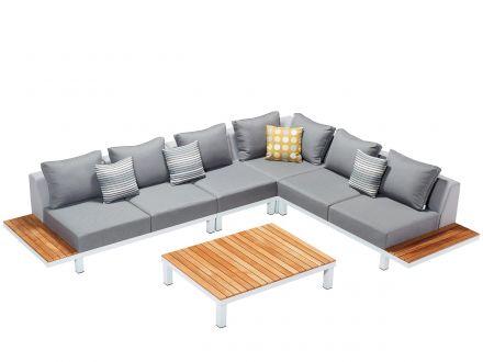 Lünse 5-teilige Alu Teak Plattform-Lounge Katamaran white