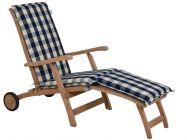 Deckchair Auflage blau-beige-kariert