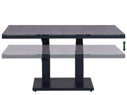 Vorschau: Lünse Alu Glas-Keramik Lift-Tisch Black Pearl 140x85cm