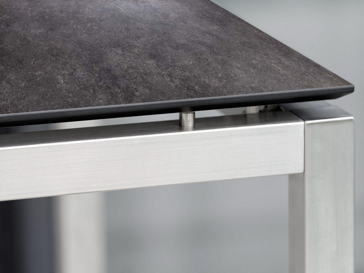 Stern Tisch Edelstahl Vierkantrohr mit Silverstar 2.0 Vintage grau