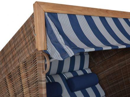 Vorschau: Strandkorb mit edler Teakblende am Oberkorb