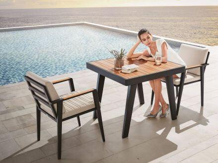 Vorschau: Lünse Alu-Teak Dining Gartenmöbel Set Regency