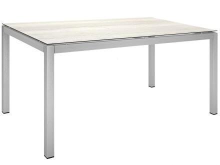Stern Gartentisch 160x90cm Edelstahl Vierkantrohr / Touch Tundra Kalk